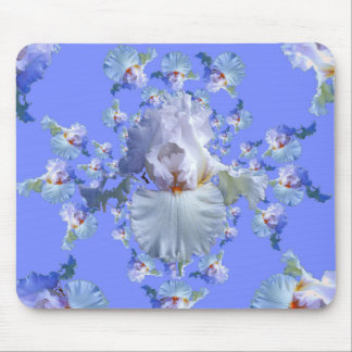 DECORATIVE  WHITE & BLUE IRIS gifts Mouse Pad