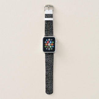 Decorative White Scrolling Curves on Black Apple Watch Band
