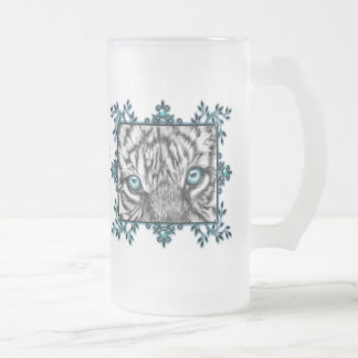 Decorative White Tiger Frosted Glass Beer Mug