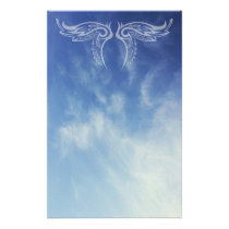 Decorative Wings on Cloud Photo Stationery