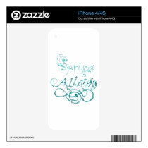 Decorative Word Allergy2 iPhone 4S Decal