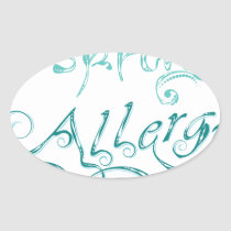 Decorative Word Allergy2 Oval Sticker
