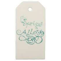 Decorative Word Allergy2 Wooden Gift Tags