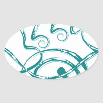 Decorative Word Allergy Oval Sticker