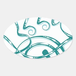 Decorative Word Allergy Oval Sticker