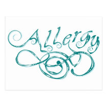 Decorative Word Allergy Postcard
