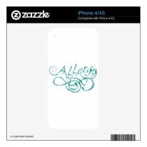 Decorative Word Allergy Skin For The iPhone 4