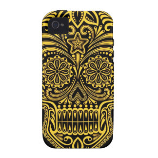 Decorative Yellow and Black Sugar Skull Case For The iPhone 4