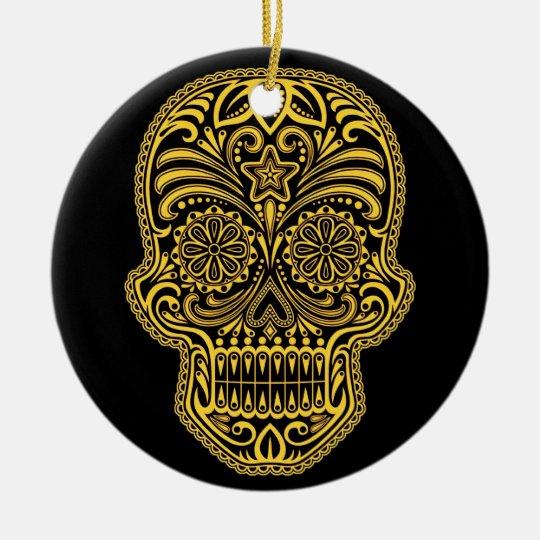 Decorative Yellow and Black Sugar Skull Ceramic Ornament