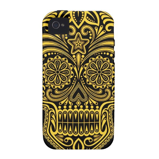 Decorative Yellow and Black Sugar Skull iPhone 4 Cover
