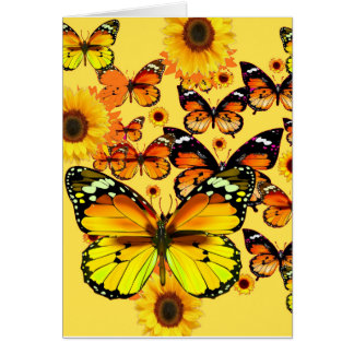 DECORATIVE  YELLOW BUTTERFLIES & SUNFLOWERS