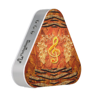 Decorative yellow clef with roses bluetooth speaker