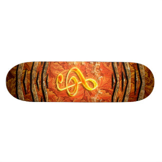 Decorative yellow clef with roses skateboard