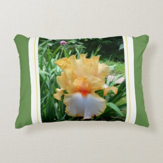 Decorative Yellow Iris Flower Accent Pillow