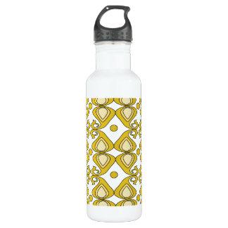 Decorative Yellow Paisley Pattern 24oz Water Bottle