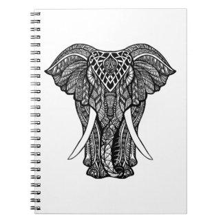 Decorative Zendoodle Elephant Illustration Notebook