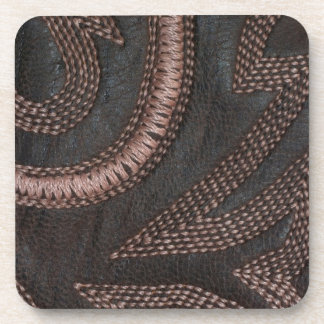 Decoratively Sewn Brown Vintage Leather Beverage Coaster