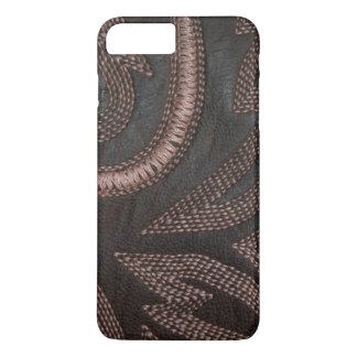 Decoratively Sewn Brown Vintage Leather iPhone 7 Plus Case