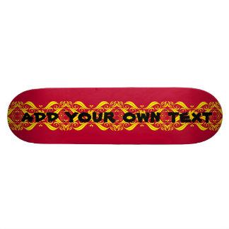 decorativo de lujo rojo y amarillo del monopatín - monopatines personalizados