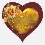 Decorativo subió oro pegatinas corazon personalizadas