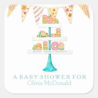 Décorée Macarons Pâtisserie Bunting Baby Shower Square Sticker