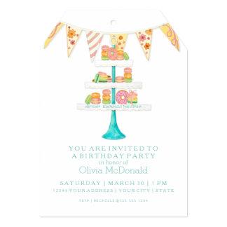 "Décorée Macarons Pâtisserie Bunting Birthday Party 5"" X 7"" Invitation Card"
