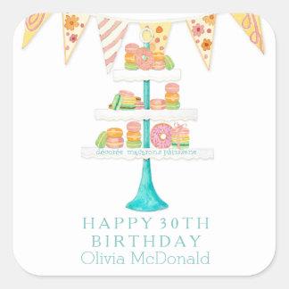 Décorée Macarons Pâtisserie Bunting Birthday Party Sticker