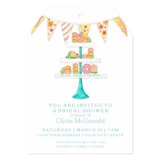 "Décorée Macarons Pâtisserie Bunting Bridal Shower 5"" X 7"" Invitation Card"