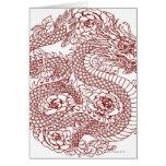 Decoupage de un dragón chino felicitacion