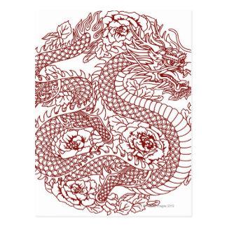 Decoupage de un dragón chino postales