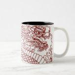 Decoupage de un dragón chino taza de dos tonos