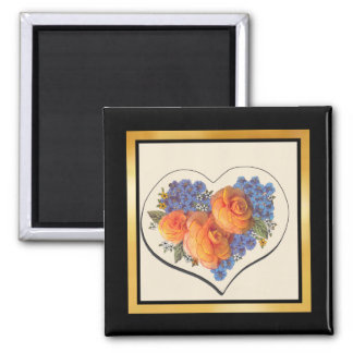 Decoupage Love Heart-1 2 Inch Square Magnet