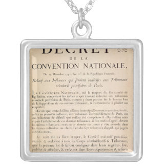 Decree of the National Convention Square Pendant Necklace