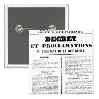 Decree & Proclamation by Napoleon Bonaparte 2 Inch Square Button