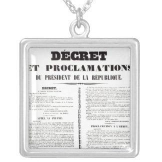 Decree & Proclamation by Napoleon Bonaparte Square Pendant Necklace