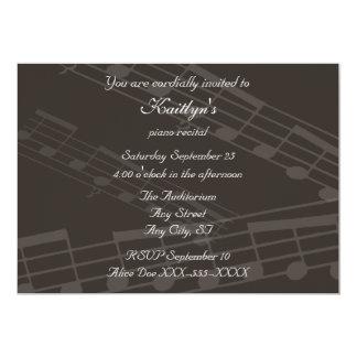 Decreto de la música del piano del vintage invitación 12,7 x 17,8 cm