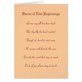 Decreto de nuevos principios tarjeta pequeña