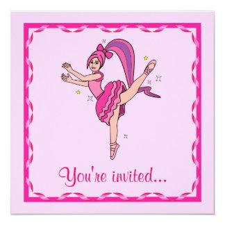 """Decreto del ballet: Bailarina con el pelo y el Invitación 5.25"""" X 5.25"""""""
