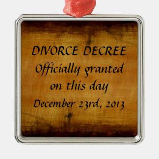 Decreto del divorcio adorno cuadrado plateado