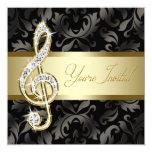 Decreto negro del Clef agudo de la música del oro Anuncio