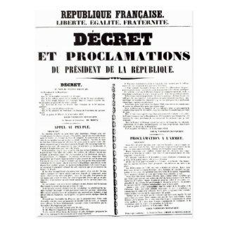 Decreto y proclamación de Napoleon Bonaparte Tarjeta Postal