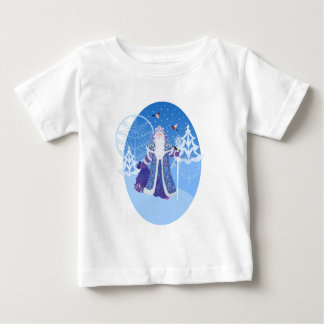 Ded Moros and birds in winter forest russian style Baby T-Shirt