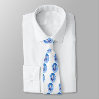 Ded Moros and birds in winter forest russian style Neck Tie