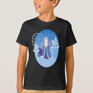 Ded Moros and birds in winter forest russian style T-Shirt