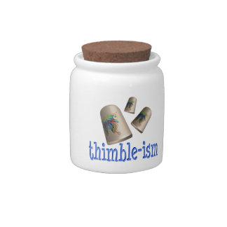 Dedal-ismo de costura jarras para caramelos