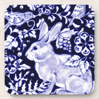 Dedham Blue Rabbit, Classic Blue & White Design Beverage Coaster