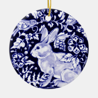 Dedham Blue Rabbit, Classic Blue & White Design Double-Sided Ceramic Round Christmas Ornament
