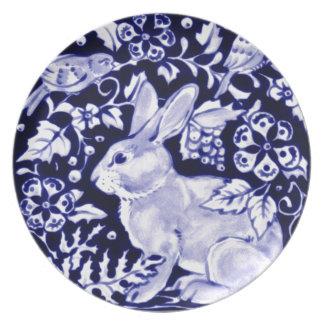 Dedham Blue Rabbit, Classic Blue & White Design Dinner Plate