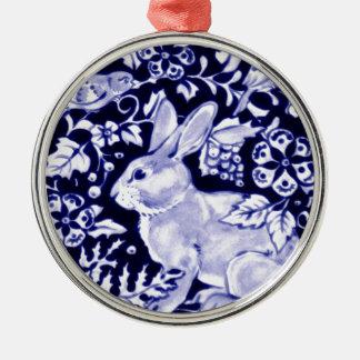 Dedham Blue Rabbit, Classic Blue & White Design Round Metal Christmas Ornament