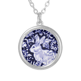 Dedham Blue Rabbit, Classic Blue & White Design Silver Plated Necklace